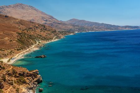 torrid: Crete, Greece: aerial top view of Palm Bay