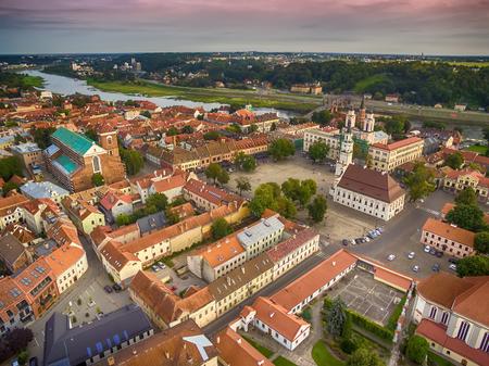 kaunas: Kaunas, Lithuania: aerial UAV top view of Old Town