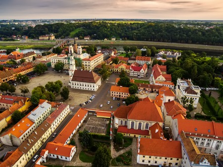 Kaunas, Lithuania: aerial UAV top view of Old Town