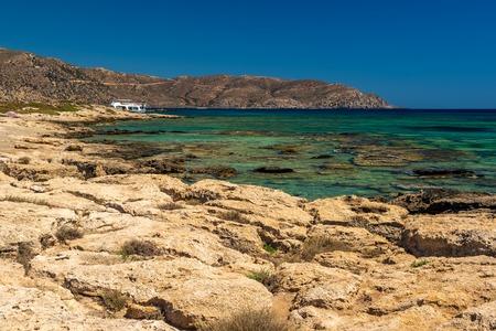 torrid: Crete, Greece: famous beach in Elafonisi or Elafonissi lagoon Stock Photo