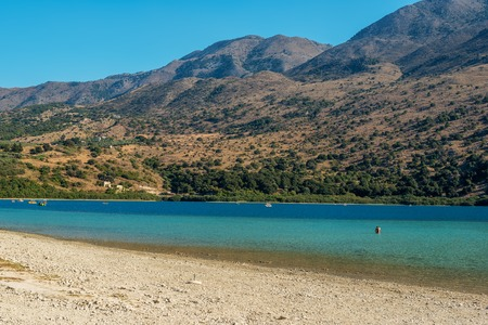 Crete, Greece: famous Kournas Lake, the only freshwater lake in Crete