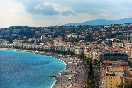 maritimes: Nice, France: aerial panoramic top view of the old town and the Promenade des Anglais Stock Photo