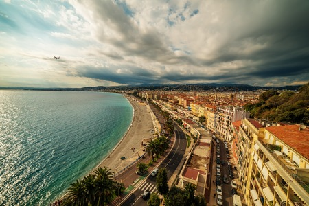 Nice, France: aerial panoramic top view of the old town and the Promenade des Anglais Standard-Bild