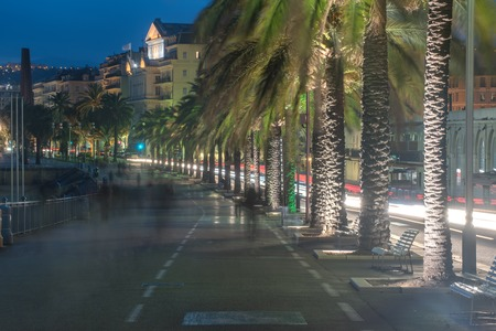 maritimes: Nice, France: beautiful night view of the old town and the Promenade des Anglais