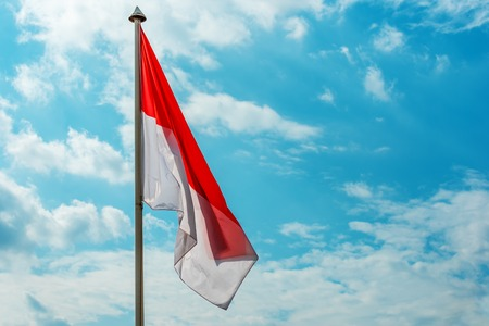 polity: Flag of of Monaco in the background of sky