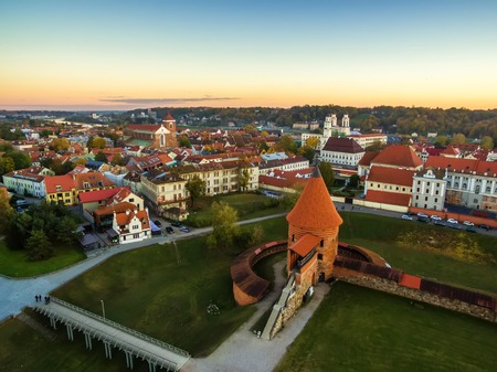 Kaunas, Lithuania: aerial top view of old town and castle in the autumn 스톡 콘텐츠