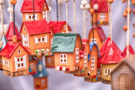 Handicraft mart Kaziukas in Vilnius, Lithuania: ceramic houses Stock Photo