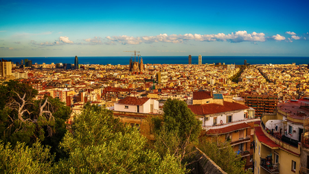 Aerial top view of Barcelona, Catalonia, Spain Stock Photo