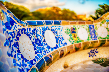 Barcelona, Catalonia, Spain: mosaic in the Park Guell of Antoni Gaudi Stock Photo