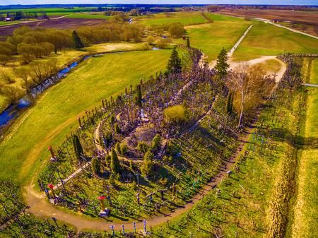Siauliai , Lithuania: aerial above view of Hill of Crosses, Kryziu Kalnas. Фото со стока