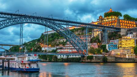 Porto, Portugal: the Dom Luis I Bridge and the Serra do Pilar Monastery on the Vila Nova de Gaia side