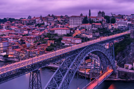 Porto, Portugal: the Dom Luis I Bridge and the old town
