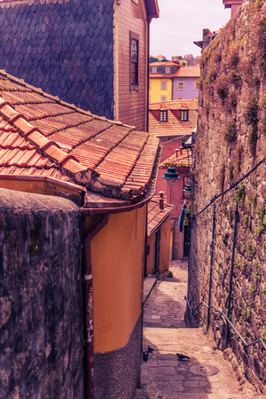 Porto, Portugal: traditional narrow street in the old town