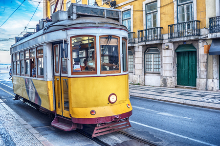 Lisbon, Portugal: the tram in the old town Stock Photo