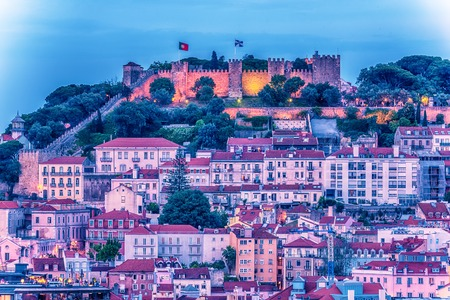 Lisbon, Portugal: aerial view the old town and Sao Jorge Castle, Castelo de Sao Jorge