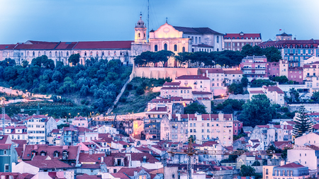 Lisbon, Portugal: aerial view the old town Stock Photo