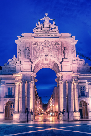 Lisbon, Portugal: the Triumphal Rua Augusta Arch, Arco Triunfal da Rua Augusta at sunrise Stock Photo