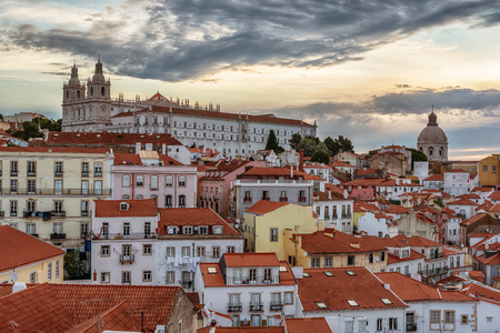 Lisbon, Portugal: aerial view the old town, Alfama