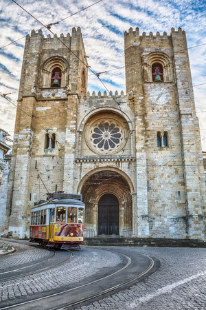 Lisbon, Portugal: the tram next to cathedral