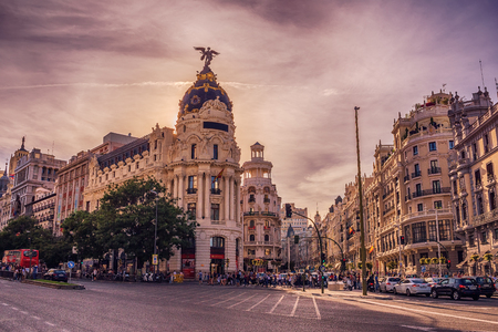 Madrid, Spain: cityscape at Calle de Alcala and Gran Via 스톡 콘텐츠