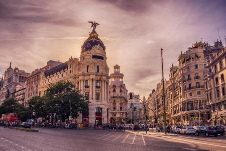 Madrid, Spain: cityscape at Calle de Alcala and Gran Via Standard-Bild