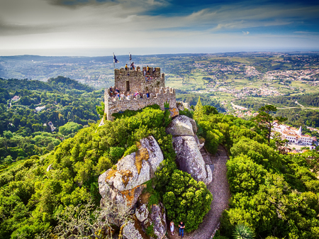 Sintra, Portugal: aerial top view of the Castle of the Moors, Castelo dos Mouros, located next to Lisbon