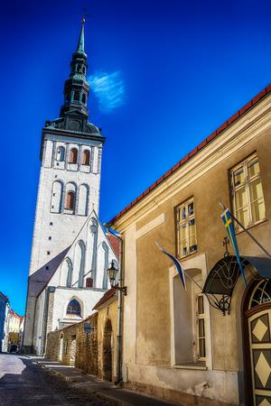 tallin: Tallinn, Estonia: the old town in the summer. St. Ofafs church