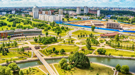 Minsk, Belarus: multi-stored houses in new part of city in the summer Stock Photo
