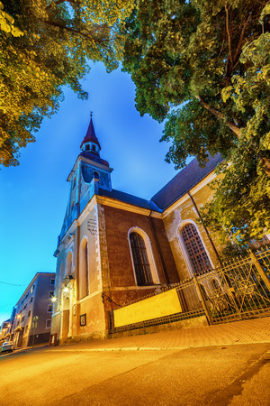 estate: Parnu, Estonia, Baltic States: the old town and St. Elizabeths Church at night