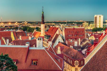 tallin: Tallinn, Estonia: aerial top view of the  beautiful old town at night Stock Photo