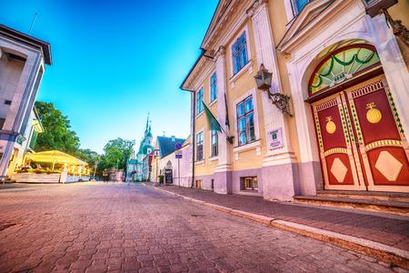 パルヌ、エストニアは、バルト三国: 夜の旧市街 写真素材