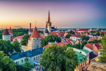 Tallinn, Estonia: aerial top view of the  beautiful old town at night Stock Photo