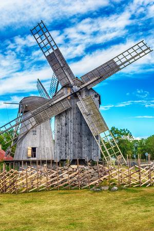 Saarema Island, Estonia: Angla windmills in Leisi Parish in the summer Stock Photo