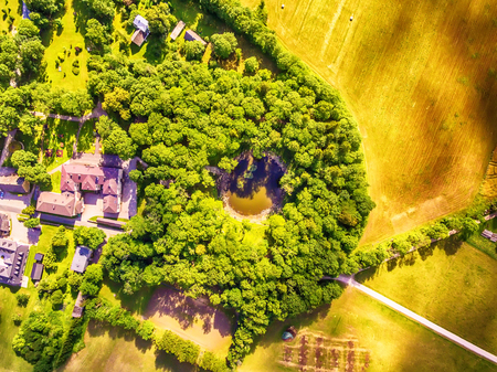 Saarema Island, Estonia: aerial top view the main meteorite crater in the village of Kaali in the summer 스톡 콘텐츠