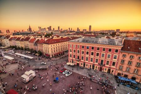 prestigious: WARSAW, POLAND – 5 AUGUST, 2017: the old town, Krakowskie Predmiescie, the most prestigious street of Polish capital city at sunset