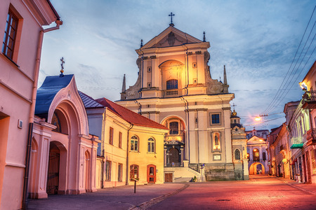 Vilnius, Lithuania: Didzioji street in the old town at sunrise Stock Photo
