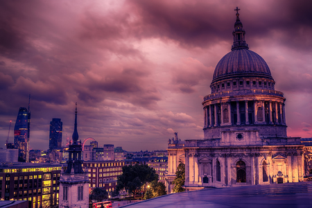 London, the United Kingdom: St. Paul's Cathedral and aerial night view of the city Stock Photo