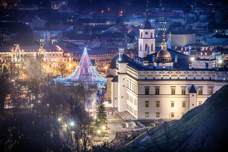 Vilnius, Lithuania: Christmas tree and decorations in Cathedral Square, aerial top view