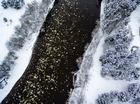 Vilnius, Lithuania: aerial top view of ice drift in Neris river in winter Stock Photo