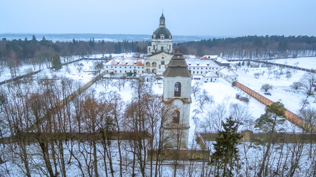 Kaunas, Lithuania: Pazaislis Monastery and Church, located on a peninsula in Kaunas Reservoir, in winter