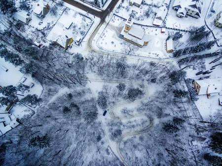 Winter in Vilnius, Lithuania: aerial view of Tuputiskes Seprentine Road Stock Photo