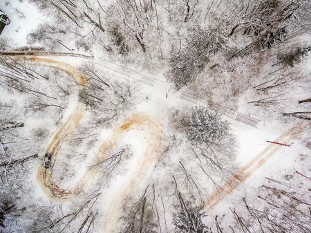 Winter in Vilnius Lithuania: aerial view of Tuputiskes Seprentine Road