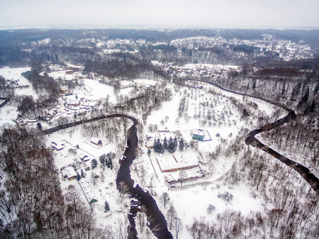Vilnius, Lithuania: aerial top view of Vilnele river and Belmontas park in beautiful colors of winter