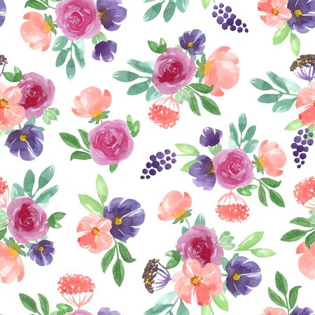 Seamless pattern with blue, pink handmade flowers and leaves. Vector illustration, isolated on white background.