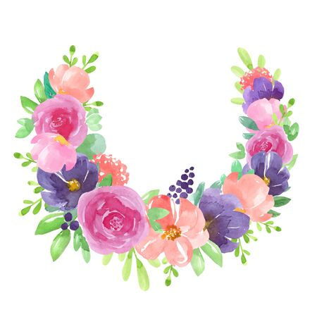 Invitation. Wedding or birthday card. Floral frame. Watercolor botanical wreath with blue, pink, purple flowers, leaves and berries. Vector illustration, isolated on white background.