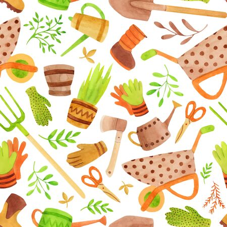 gardening tools seamless pattern. Hand drawn watering can, rake, shovel and other tools isolated on white background.