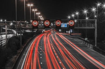 night highway: night highway in Antwerp, Belgium Stock Photo