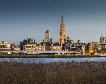 antwerp: Antwerp city, View from river bank Editorial