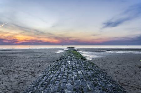 breakwaters: Breakwaters on the North Sea. Ostende Stock Photo