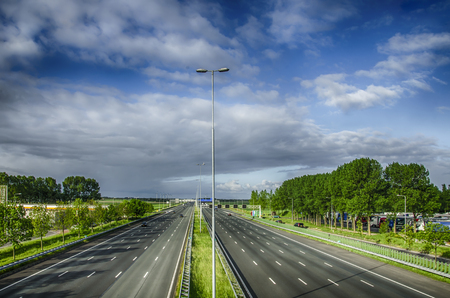 noord: Highway in Holland. Nice view of the high-speed road.